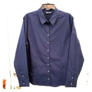 Womens New York & Co 7th Ave  navy blue blouse XL